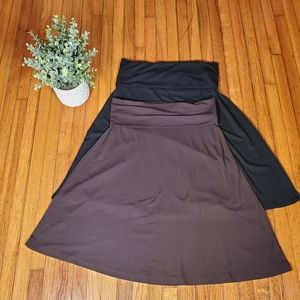 2 Old Navy A-Line Skirt Black Brown Preppy Work XS
